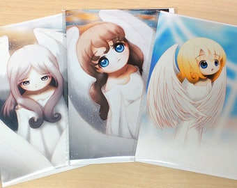 Set of 3 Angel Cards, Cute Christmas Cards