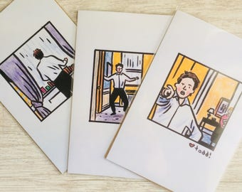 Love Actually Print Set, 4 x 6 inches, Art, Movies, Illustration, Wall Decor, Hugh Grant, dance scene