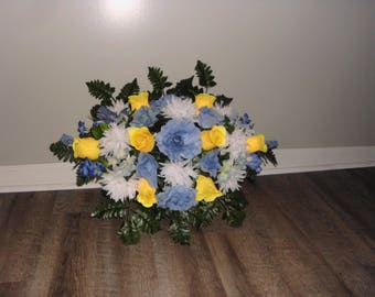 Cemetery Flowers, Tombstone Saddle, Cemetery Headstone Flowers, Grave Flowers, Yellow and Blue Roses, Memorial Day Flowers   FF742