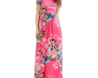 Pink Maxi Dress,Floral maxi dress,maxi dress with pockets
