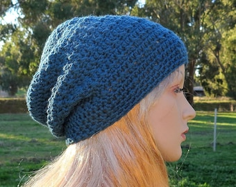 Slouch Beanie Hat, Teal Blue, Wool Womans Slouchy, Crochet Woollen Slouch Beanie