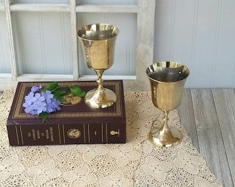 "2 Stemmed Vintage Brass Goblets | Brass Wine Goblets | Water Goblets | 5 1/2"" Tall  | Hollywood Regency | Wedding Decor | Made in India"