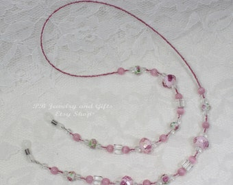 Beaded Eyeglass Holder - Rose and Pink