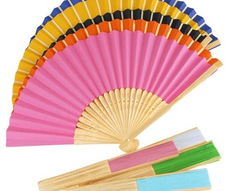 Paper Folding Hand Fan w/ Wooden Handle, 8-Inch
