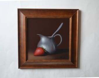 Acrylic 8x8' strawberry painting, strawberries, silver cup, tiny kitchen miniature, red fruit painting, small still life, berry, berries