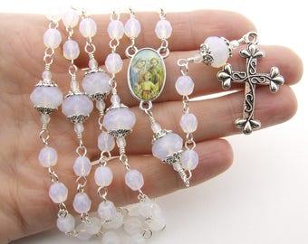 Holy Family Catholic Rosary Beads - Opal White Five Decade Rosary - Personalized Rosary - Christmas Rosary Christmas Gift - Catholic Gift