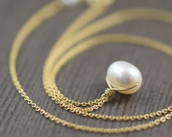 Wire wrapped White freshwater pearl necklace on gold filled chain Mothers day gifts for her