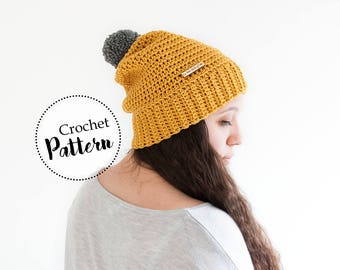 Schema uncinetto berretto Erin per adulti || schema uncinetto cappello berretto con pom pom || schema berretto di lana || pattern uncinetto