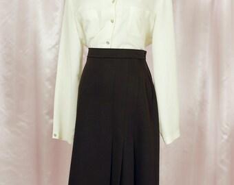 Dark Brown 70s Pleated Midi Skirt