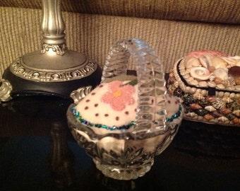 Glass Basket Pincushion II