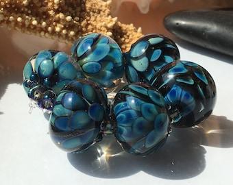 Handmade Lampwork Glass Beads SRA Ocean Blue Bloom Encasement Florals (6)