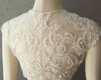 Wedding Bridal Ivory Beaded Lace Bolero Shrug Jacket Topper. Made to order.