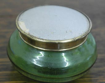 vintage green glass trinket pot