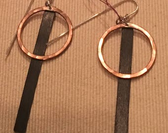 Copper circles with black stick earrings