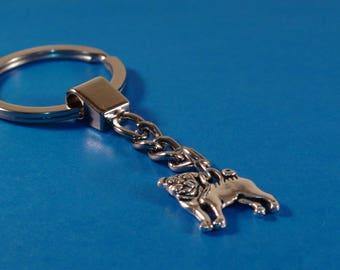 Pug Dog Keychain, Tibetan Silver Pug Dog Charm Keychain, Iron Keyring, Dog Keyring, Silver Pug Dog Key Chain, Gift For Dog Lovers