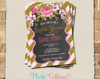 Bridal Shower Invitation, Glitter Gold Invitation, Peony Invitations, Bridal Shower Invites, Gold & Pink Invitation, BS112