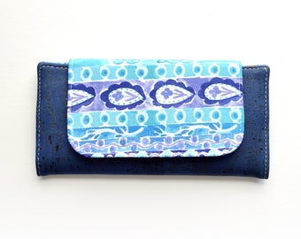 Denim Blue Cork Leather Slimline Wallet