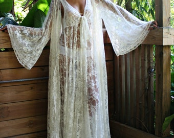 Bridal Robe Wedding Lingerie Ivory White Lace Robe Bridal Sleepwear Angel Sleeve Boudoir Trousseau Sarafina Dreams Bridal