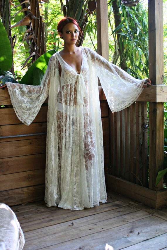 Bridal Robe Wedding Lingerie Ivory White Lace Robe Bridal
