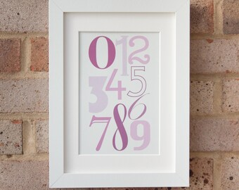 Numerals, Muted Pink - Giclée print