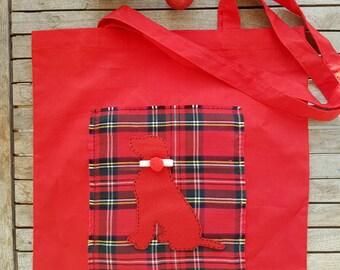 Dog tote bag, Christmas bag, cotton tote, shopping bag