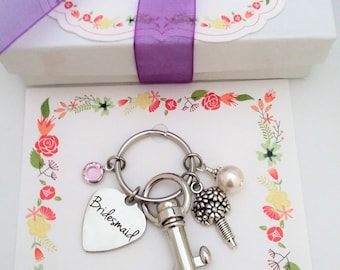 BRIDESMAID PROPOSAL Bridesmaid KEYCHAIN Will you be My Bridesmaid, Bridesmaid Ask Bridesmaid Gift Bridesmaid Purse Charm Bridesmaids Gifts