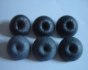 6 buttons antique grey & Black / / 30 mm