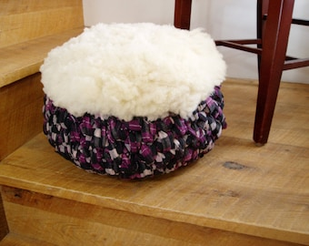 Purple Black and White Plaid Wool Shearling Upcycled Crochet Pouf Meditation Cushion Zafu