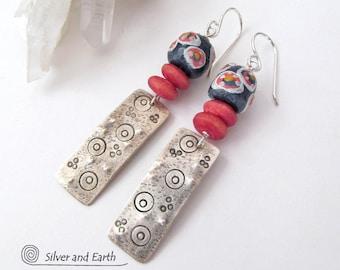 Sterling Silver Tribal Earrings, African Earrings, Silver Dangle, Unique Handmade Silver Jewelry, Boho Earrings, Bohemian Tribal Jewelry