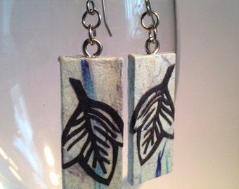 Blue Leaf Hanji Paper Earrings Leaf Design Delicate Blue Navy Dangle Earrings Hypoallergenic hooks Lightweight Ear rings