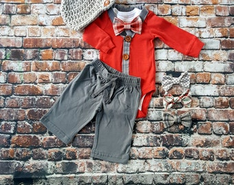 Newborn Baby Boy Coming Home Outfit. Cardigan Bodysuit, Bow Tie Bodysuit & Newsboy Hat, Pants, New Baby, Baby Shower Gift, Red and Grey