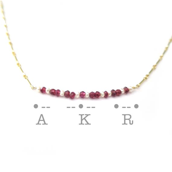 Birthstone Morse Code Necklace
