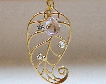 2ways Leaf with cz amethyst necklace