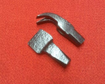 Antique Hammer Heads 2 Preserved Deep Charcoal Patina Old Blacksmith Tools