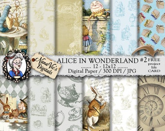Alice in Wonderland Digital Papers 1: vintage collage sheet, toile patterns, journal Scrapbooking paper, Photography back drop, John Tenniel