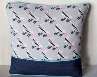 Roller - neon pink and grey - Cushion cover 40x40cm