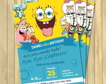 Spongebob birthday invitation sponge bob invitations spongebob invitations personalized birthday invitations digital files solutioingenieria Gallery