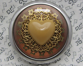Compact Mirror Heart Compact Mirror Light Chocolate Brown Heart Mirror Bridesmaid Gift Comes With Protective Pouch