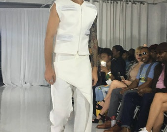 White linen pants with panels