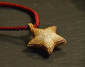 Beaded star pendant, christmas necklace, beaded necklace, christmas star, seed bead pendant, beadwork jewelry, christmas gift, gift for her