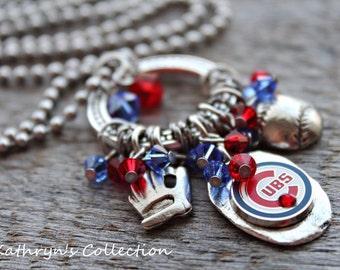 Chicago Cubs Necklace, Chicago Cubs Jewelry