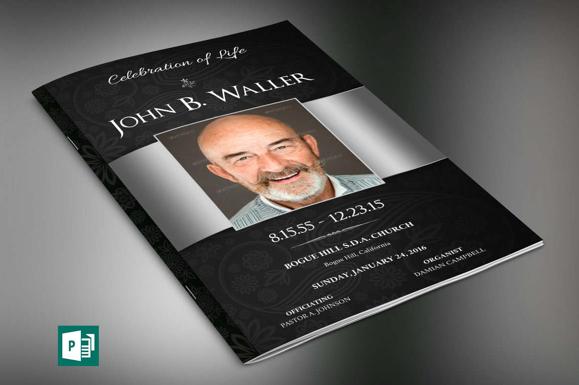 Black Dignity Funeral Program Large Publisher Template