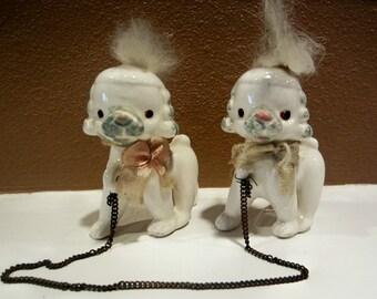 Vintage, Porcelain Poodles on a Chain Leash, 1950's Made in Japan