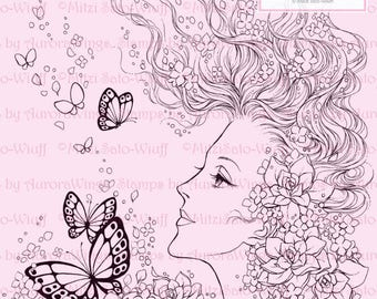 Digital Stamp Instant Download - Girl Flower Butterfly - Profile w/ Floating Hair and Gardenia Blooms - Fantasy Line Art for Cards & Crafts
