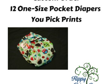 Set of 12 One-Size Pocket Diapers - Pick Your Prints - limited time offer - get one FREE diaper with purchase