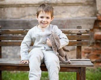 Rustic ring bearer outfit - Linen boy suit - Beach wedding ring bearer suit - Boy linen outfit - Linen costume for boy