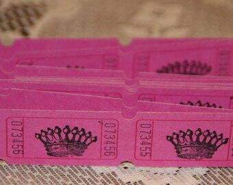 Paris Crown Carnival Tickets, 24 Magenta PINK Handstamped Carnival Tickets, Drink Tickets