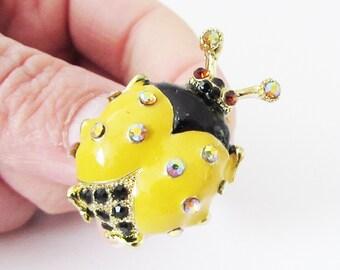 Small Yellow Ladybird Brooch, Ladybug Brooch, Yellow and Black Ladybird Brooch, Ladybug Jewelry, Insect Jewellery, Ladybird Pin