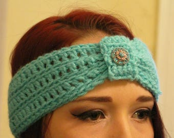 Light Blue Ear Warmer Headband with Jewel Embellishment
