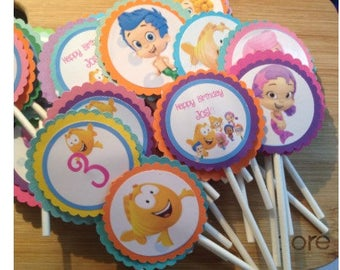 24 Personalized Bubble Guppies Cupcake Toppers - Bubble Guppies Birthday
